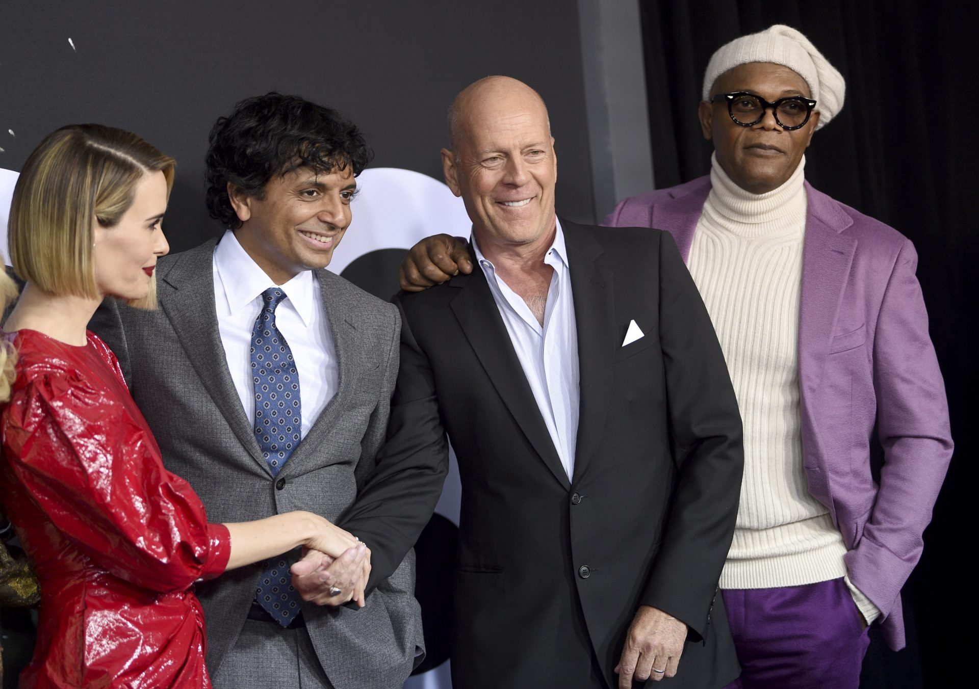"""Sarah Paulson, from left, M. Night Shyamalan, Bruce Willis and Samuel L. Jackson attend the premiere of """"Glass"""" at the SVA Theatre on Tuesday, Jan. 15, 2019, in New York."""