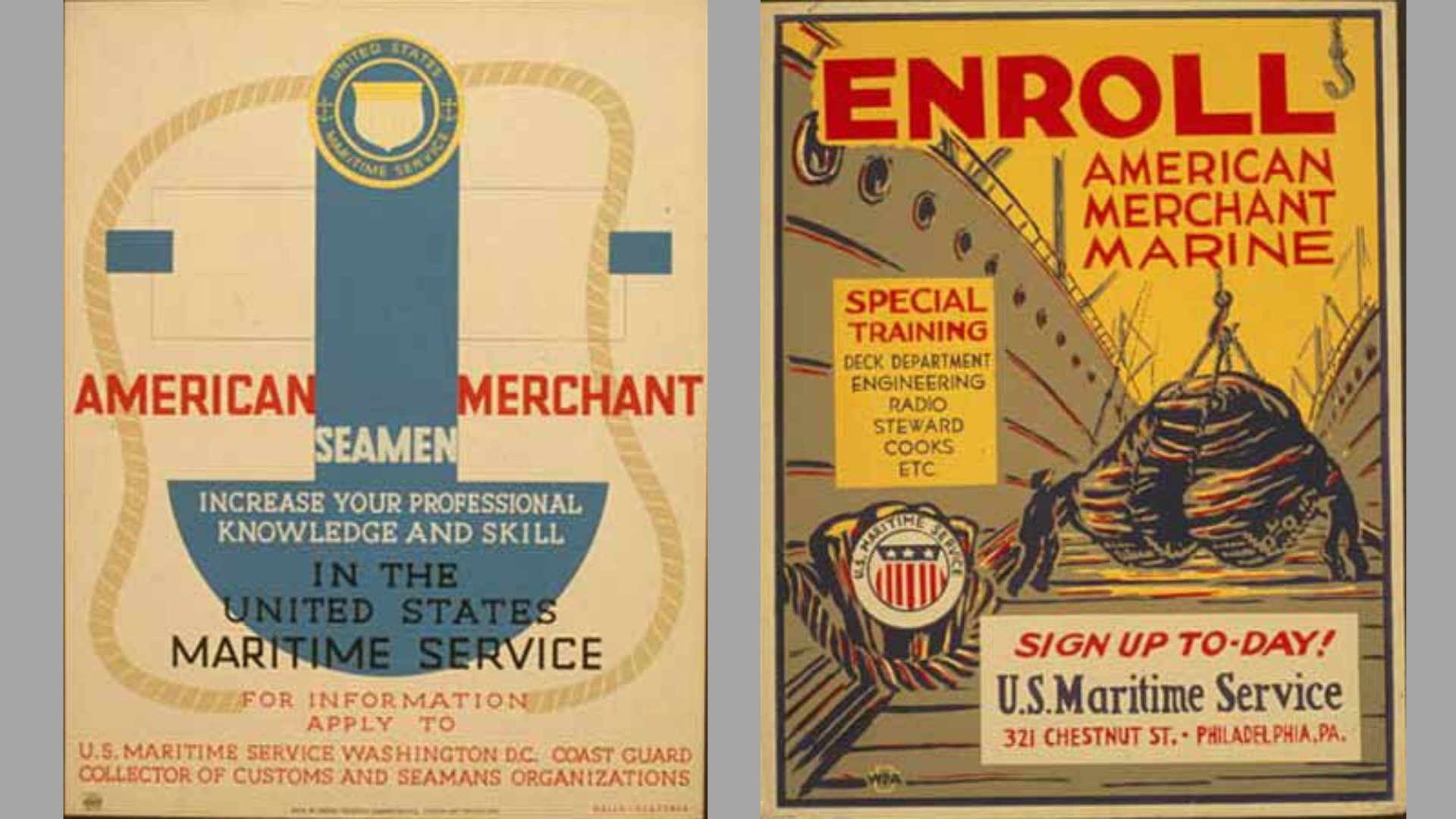 World War II Posters: Merchant Marine Training or return to sea
