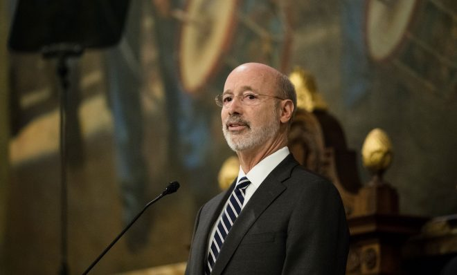 Democratic Gov. Tom Wolf delivers his budget address for the 2019-20 fiscal year to a joint session of the Pennsylvania House and Senate in Harrisburg, Pa., Tuesday, Feb. 5, 2019. (AP Photo/Matt Rourke)