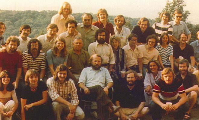 "The team known informally as the ""environmental strike force,"" in 1974. Front row, left to right: Elissa Parker; Barb Brandon; Pat McGinley; Bill Eichbaum; Jack Krill; Betsy McCoubrey; Tom Burke; Dennis Coyne; Dennis Strain. Second row, left to right: Eric Pearson; Paul Burroughs; Maxine Woelfling; Bill Oberdorfer; John Carroll; Karin Carter; Tom Oravetz; Bob Shusterman; Fran Dubrowski; Dennis Harnish; Ward Kelsey. Back row, left to right: Gene Dice; Tim Weston; Doug Blazey; Doug White (behind Blazey); Drew Dorfman; Dick Ehmann; Terry Bossert; Bob Yuhnke; Jim Rochow; Ralph Kates; Mike Alushin."