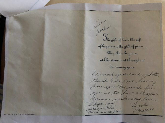 Photocopy of card mailed to prisoner