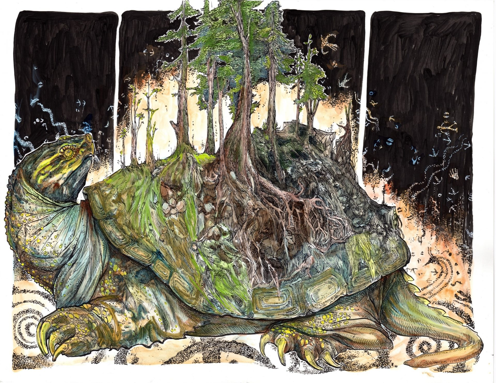 "The graphic novel ""Ghost River"" opens with a Native American origin story, depicting how the Earth first formed on the back of a turtle who rose to the surface of the water to warm himself in the sun."