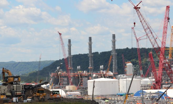 Shell's ethane cracker plant near Monaca, Pa., is seen under construction in June 2019.