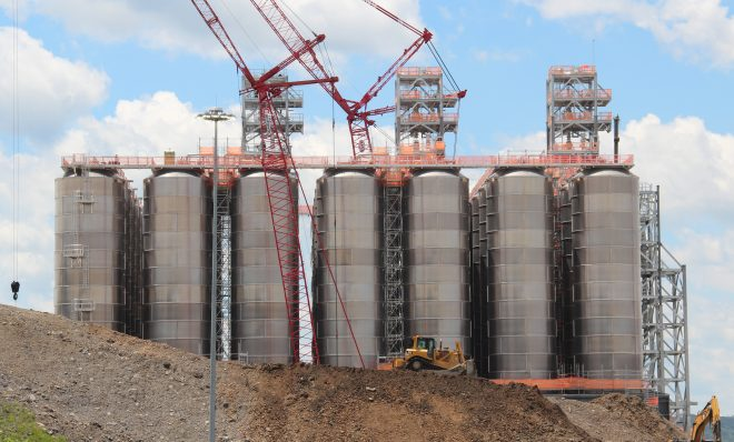 These tanks, shown here in June 2019, will hold the plastic pellets produced by Shell's ethane cracker. According to Shell, 1.6 million metric tons of plastic will be produced there annually.