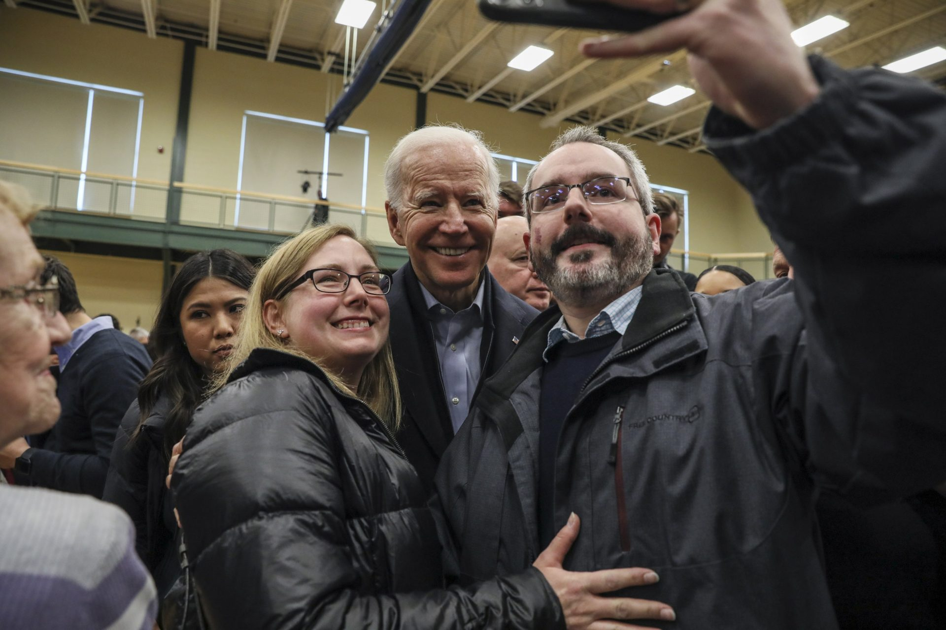 Democratic presidential former Vice President Joe Biden greets supporters after speaking at a campaign event in Nashua, N.H. Sunday, Dec. 8, 2019