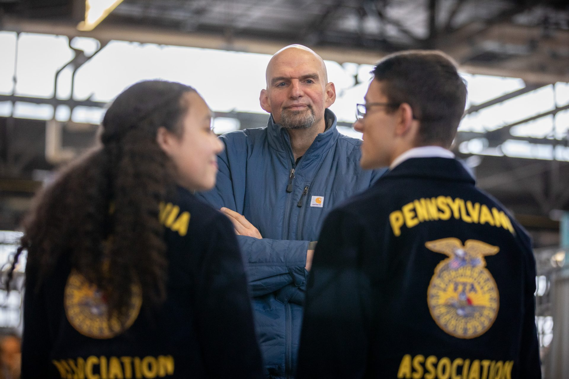 Lt. Governor John Fetterman speaks to Pennsylvania FFA members atthe unveiling of the 2020 Pennsylvania Farm Show butter sculpture on Jan. 2, 2020