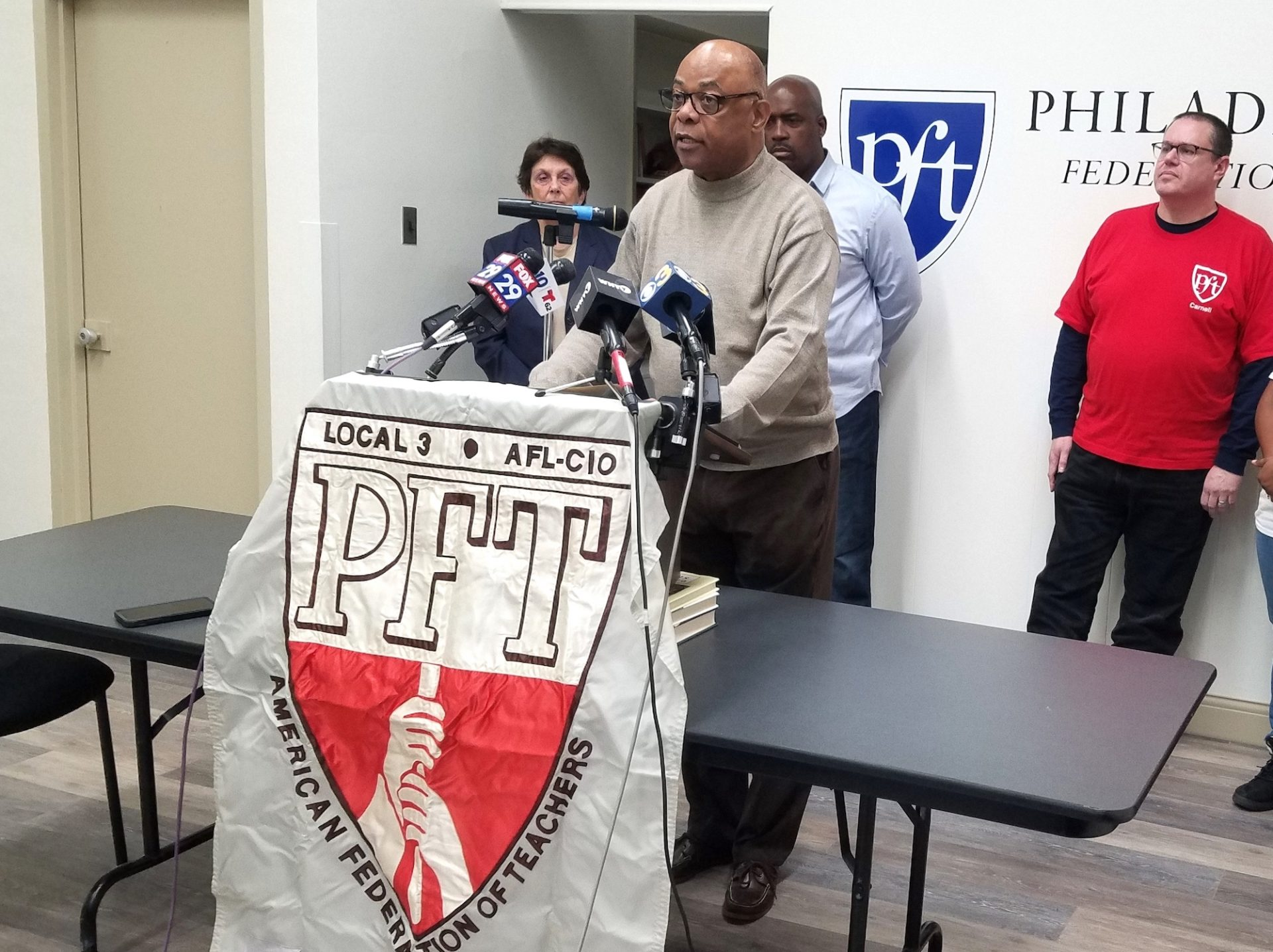 Jerry Jordan, president of the Philadelphia Federation of Teachers, announces the union is taking legal action over hazardous conditions in the city's schools on Jan. 20, 2019.
