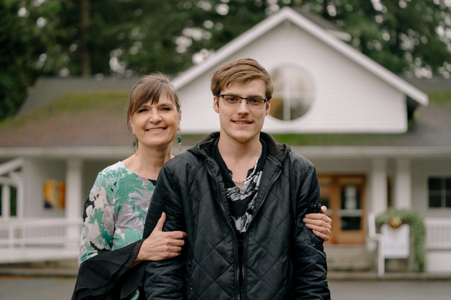 Henriët Schapelhouman and her son, Harrison Schapelhouman, outside True Hope Community Church in Issaquah, Wash.