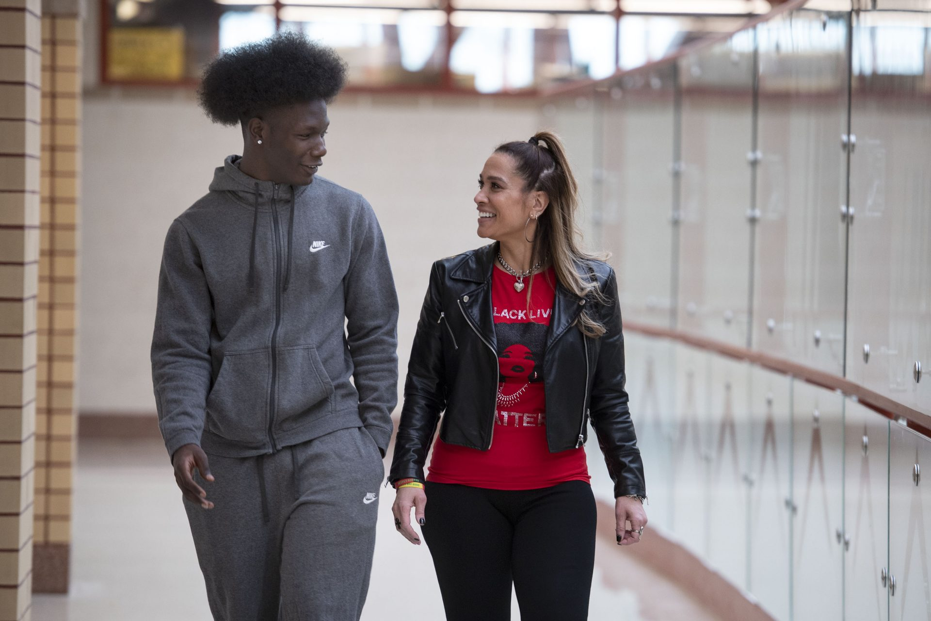 Penn Hills High School senior class counselor Dr. Amy Alexander talks with one of her seniors S-qy Featherstone on Friday, Jan. 24, 2020 in Penn Hills. Featherstone is a member of the schools Black Student Union.
