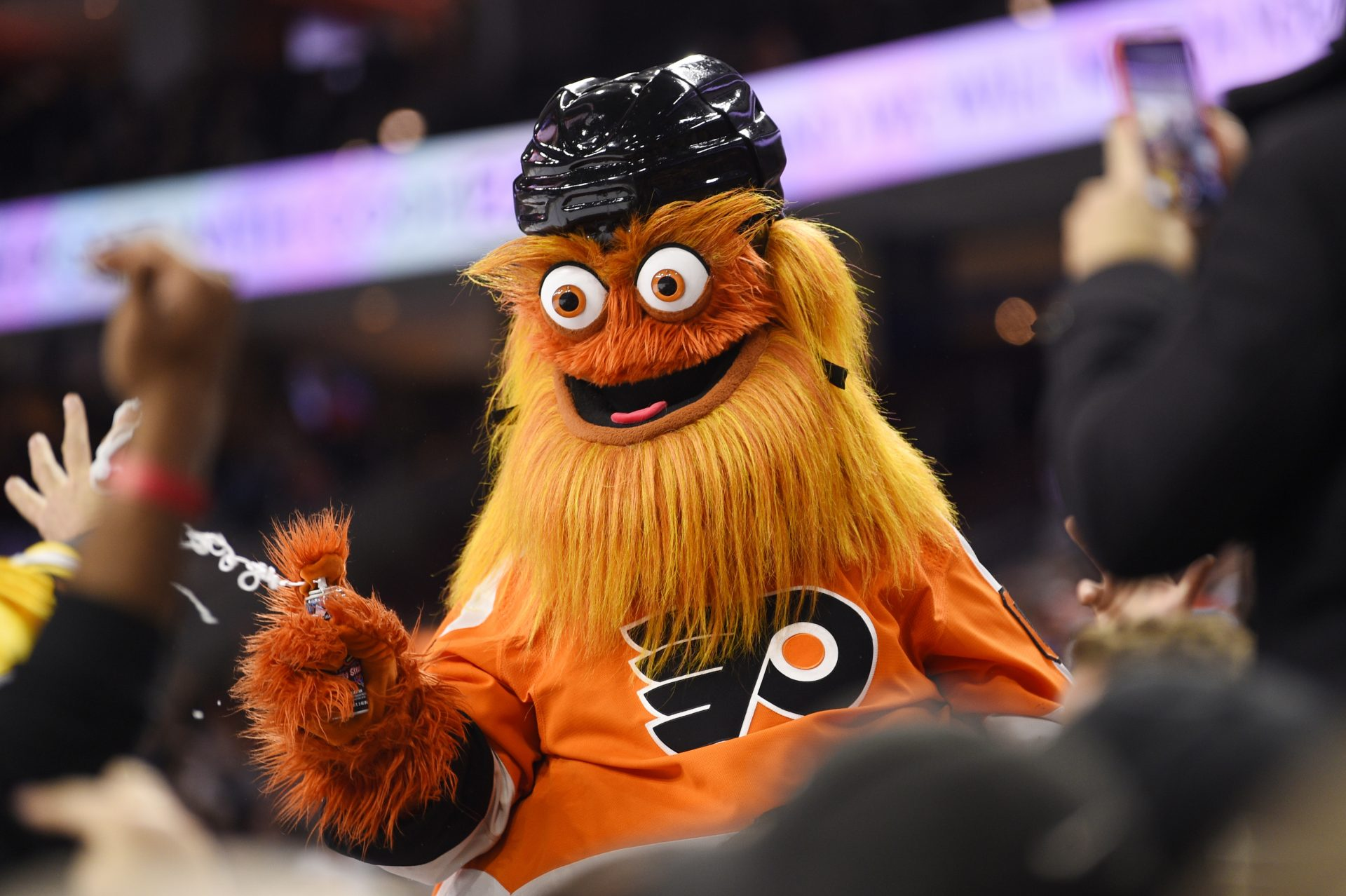 In this Monday, Jan. 13, 2020 file photo, the Philadelphia Flyers' mascot, Gritty, performs during an NHL hockey game in Philadelphia.