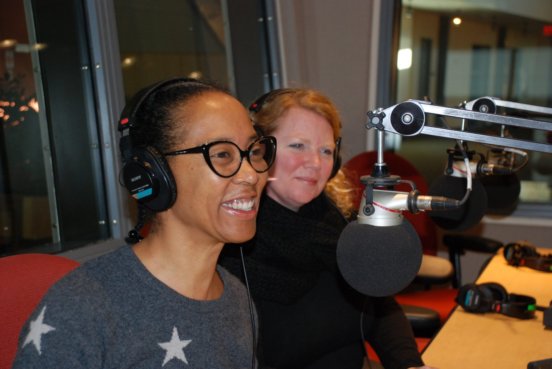 Artist Sonya Clark (left) and Amy Moorefield, Director of the Phillips Museum (right) appear on Smart Talk on January 24, 2020.
