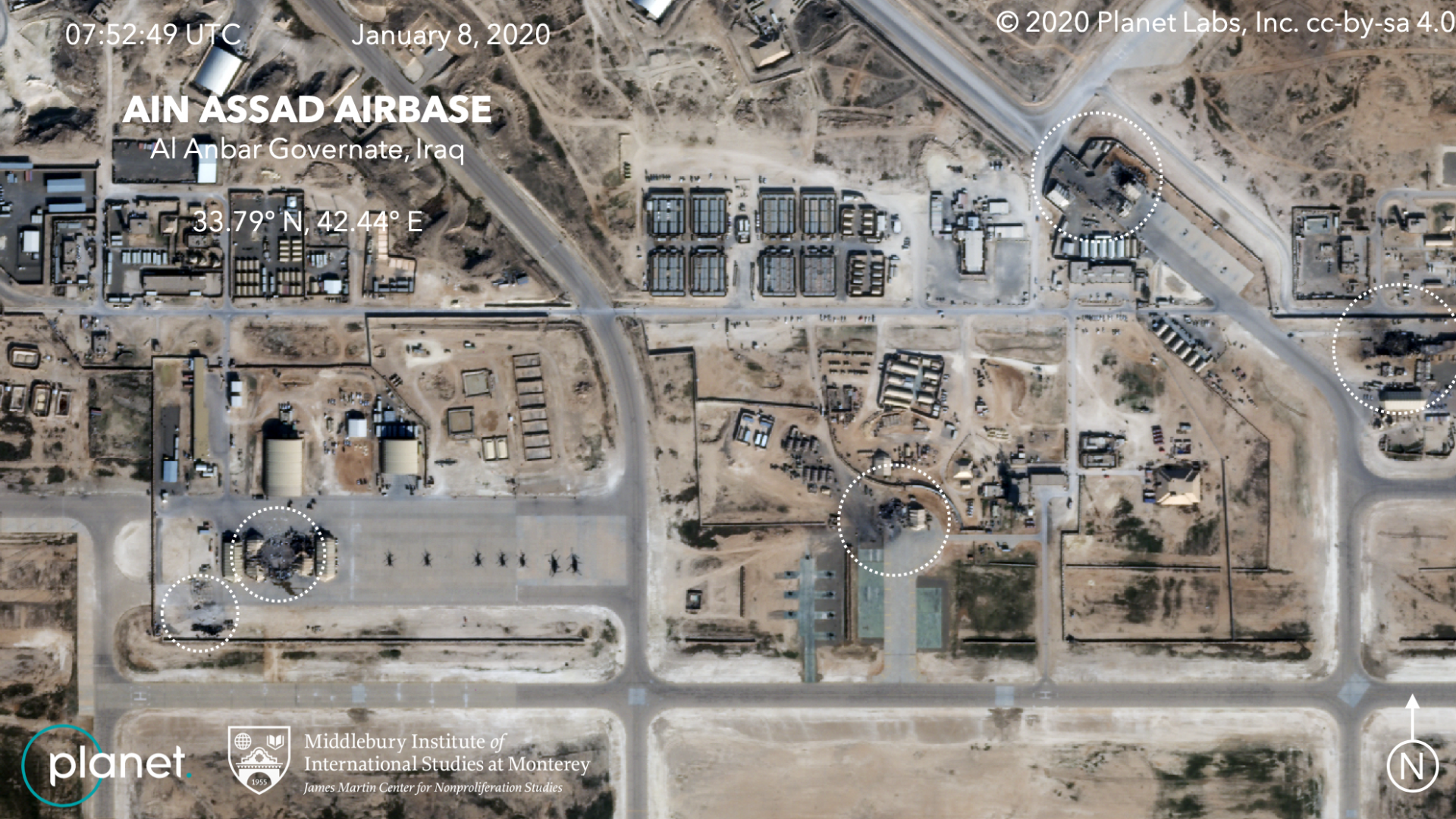 Satellite images show damage to hangars and buildings in what appears to be a series of precision missile strikes launched by Iran.