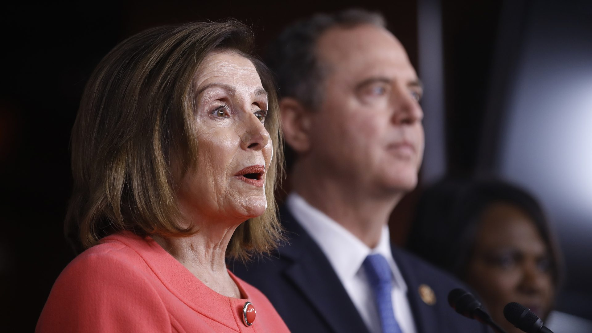 House Speaker Nancy Pelosi is joined by House Intelligence Committee Chairman Adam Schiff at a news conference to announce impeachment managers on Capitol Hill on Wednesday.