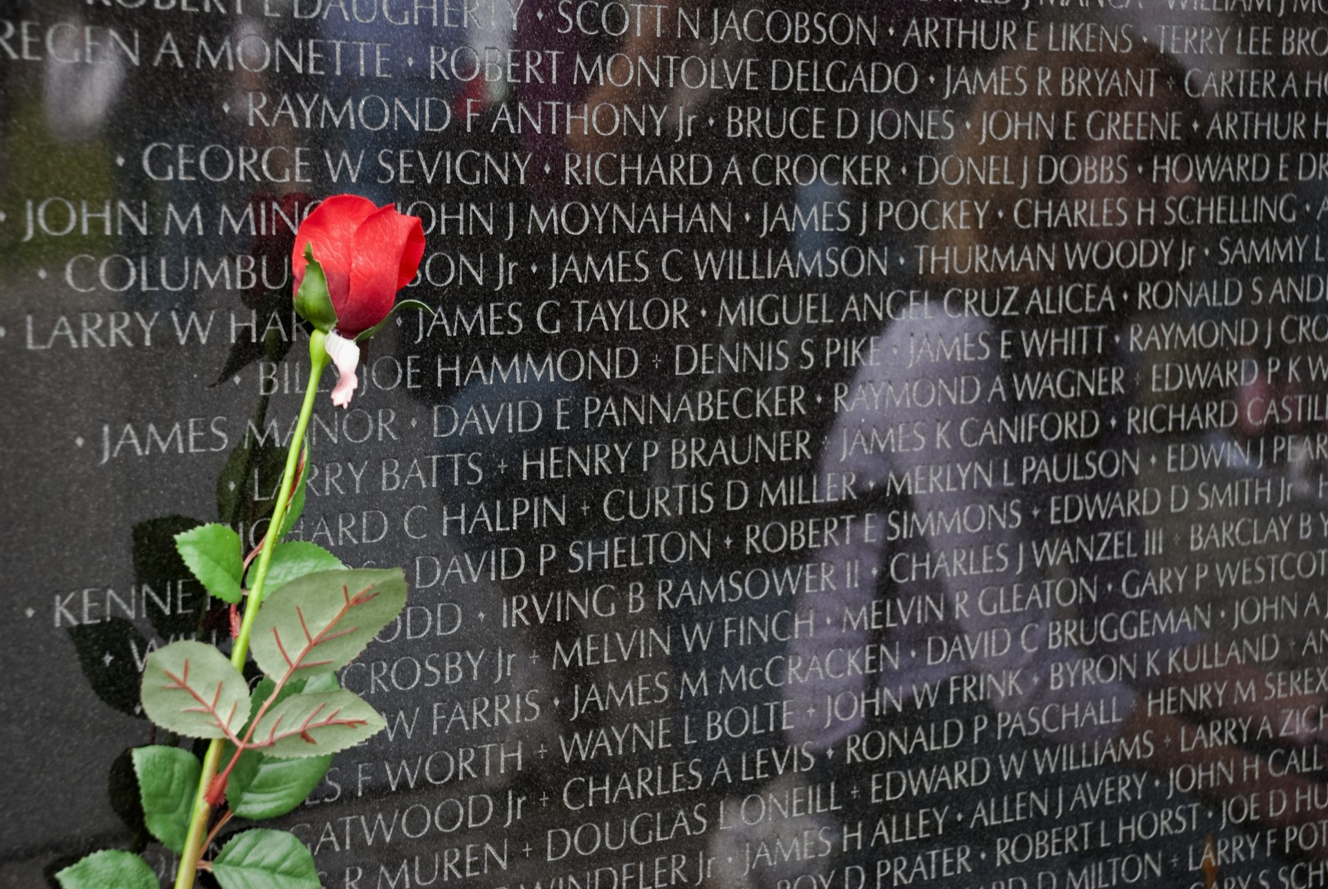 Washington DC, USA - April 9, 2008: A rose rests against a stone slab inscribed with names of the dead at the Vietnam Veterans Memorial. Visitors to the memorial are reflected in the stone.
