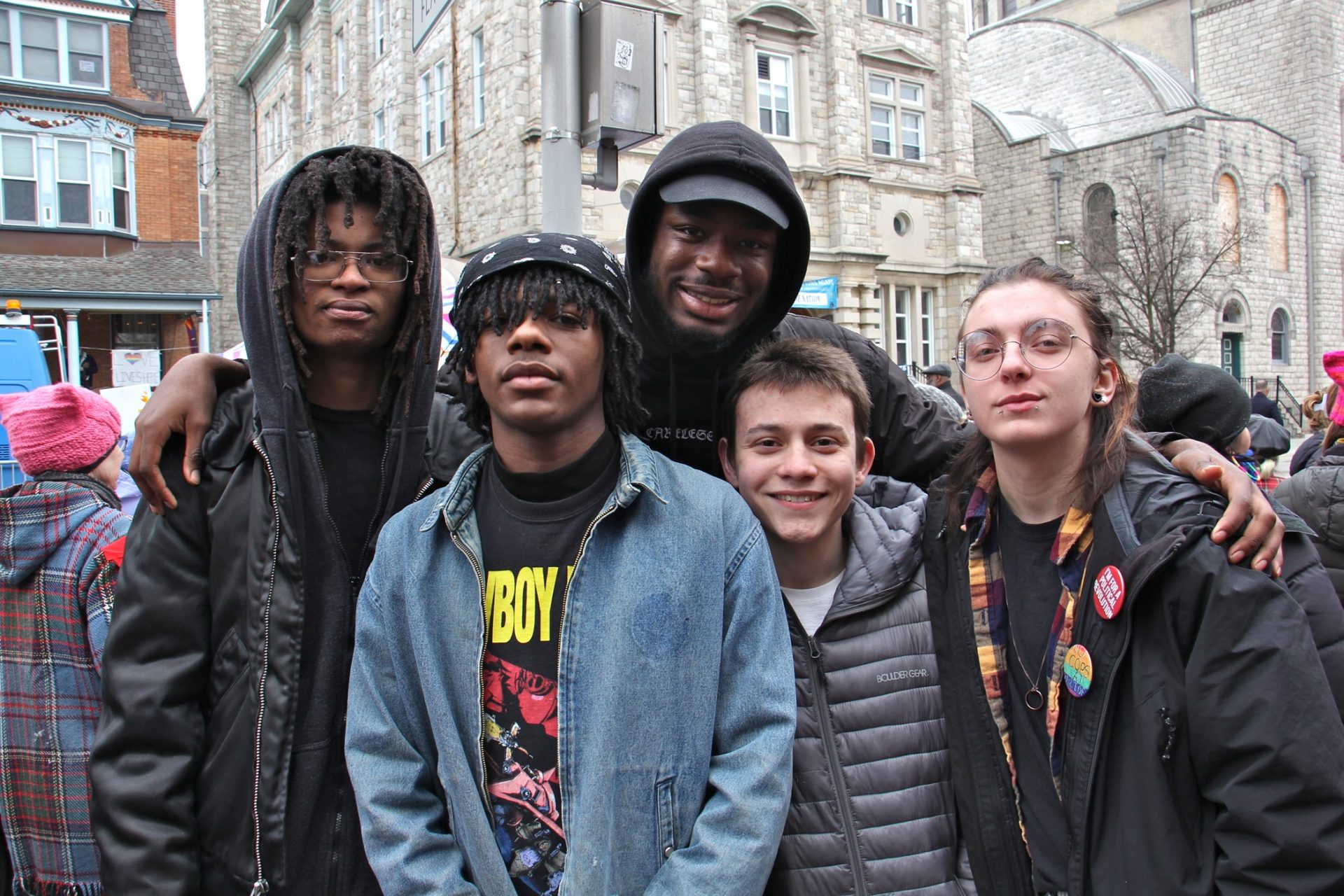 Studemts from the Philly Free School, an alternative school in West Philadelphia, attend a protest against Vice President Mike Pence, who was speaking at St. Francis de Sales School. They are (from left) Prey Lambert, Miles Conyers, Sabri Stamps, Ivo Linkin and Tobias-Maxwell Steich-Otto.