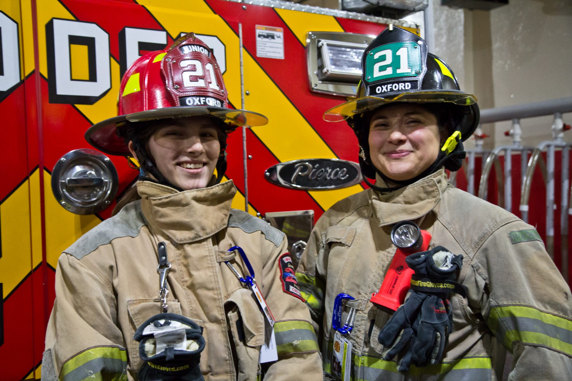 Carolena Nava (left) and her mom Lupita Nava are firefighters in Oxford, Pa.