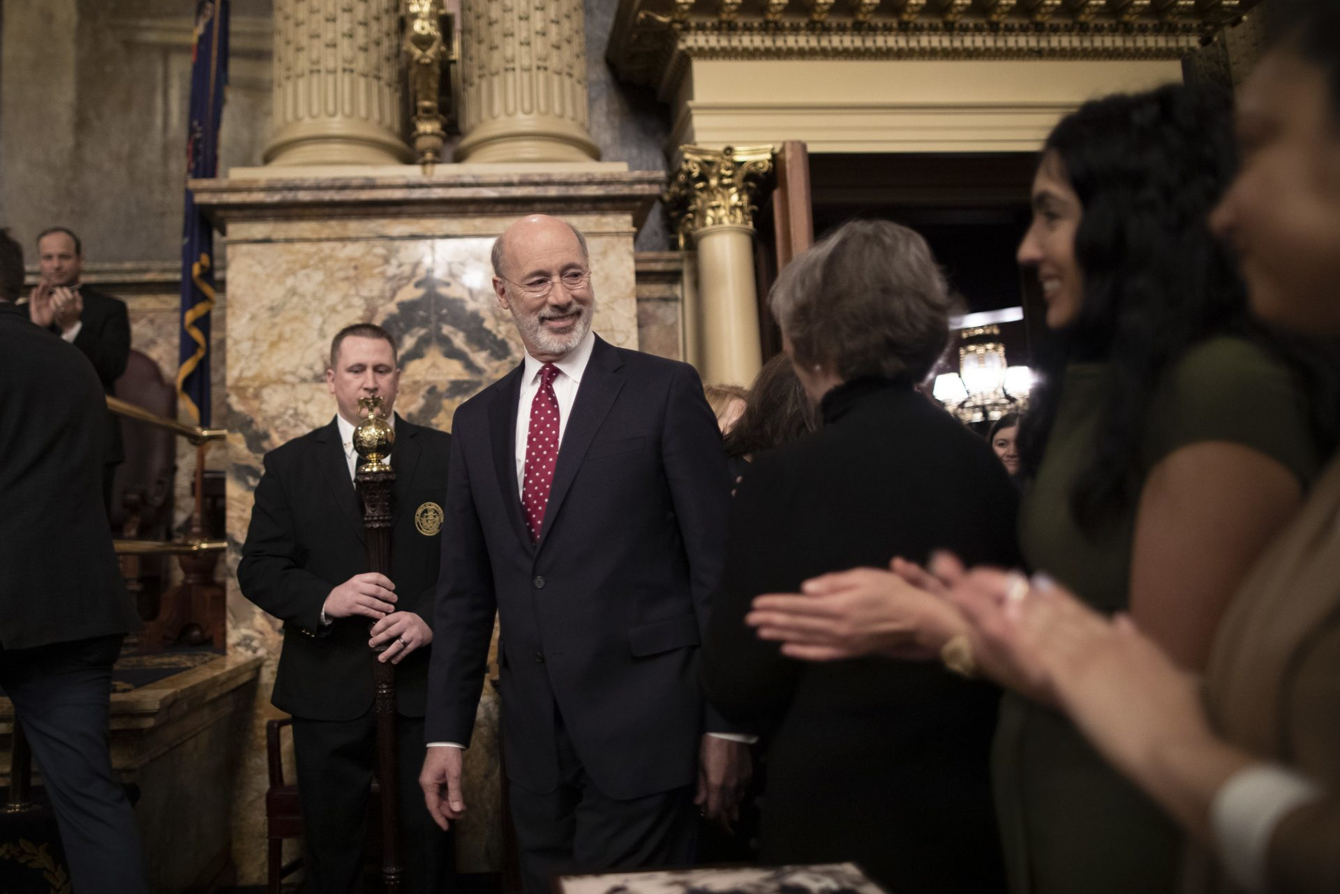 Governor Tom Wolf arrives at the Capitol to deliver his 2020-21 budget address on Tuesday, February 4, 2019.