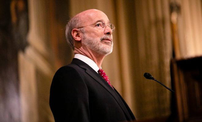 Governor Tom Wolf delivers his 2020-21 budget address in Harrisburg on Tuesday, February 4, 2020.