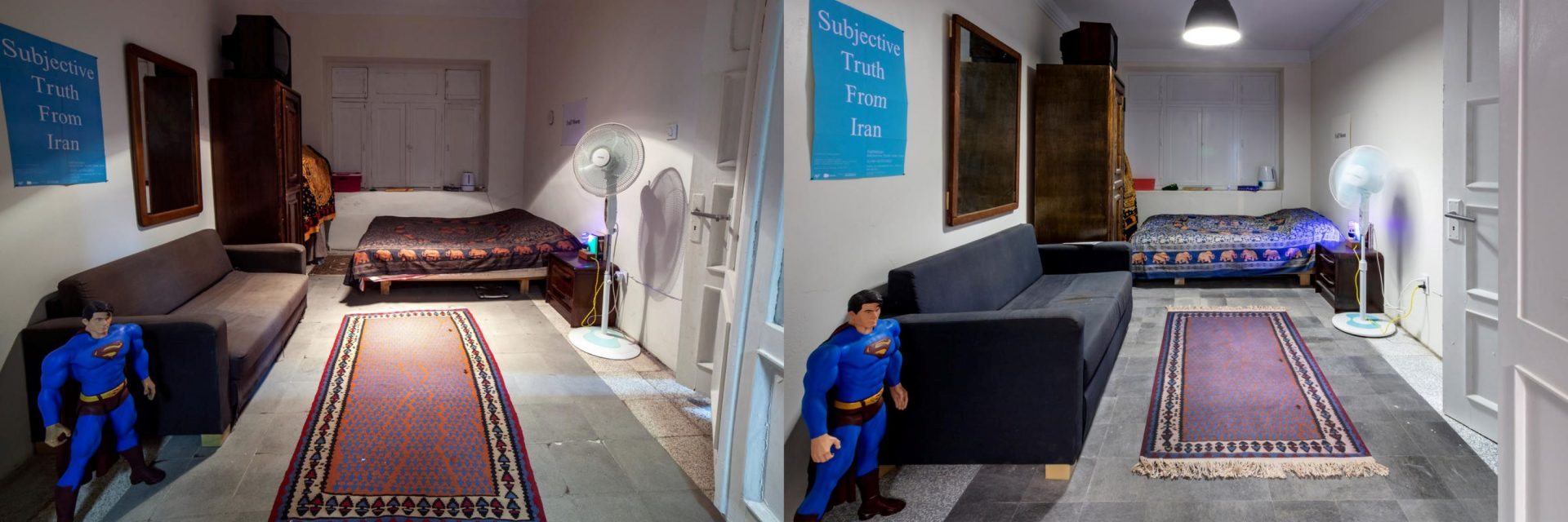 """Sohrab Kashani's bedroom in his Tehran, Iran apartment (left) and the recreated bedroom in """"The Other Apartment"""" at the Mattress Factory Museum."""