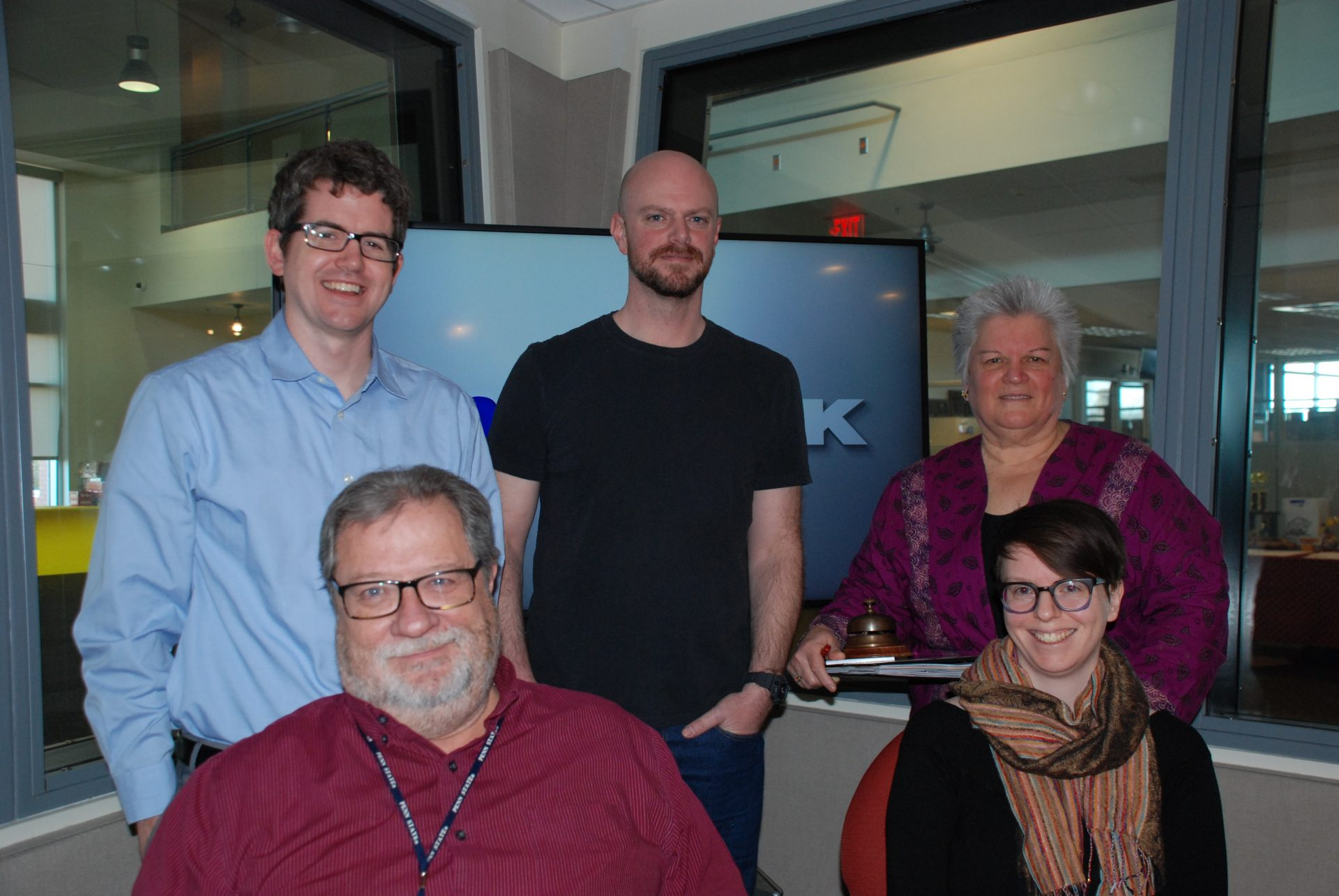 WITF staff appear on Smart Talk on February 21, 2020. Staff members from left to right: Ed Mahon (top left), Joe Ulrich, Ruth Keim, Scott LaMar (bottom left), and Lisa Wardle (bottom right).