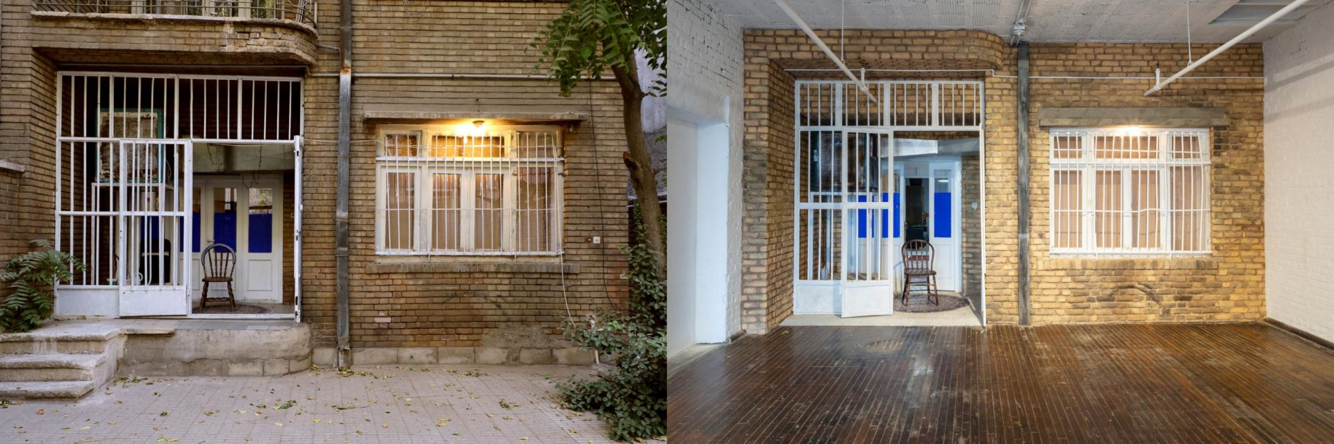 """The entrance to Sohrab Kashani's Tehran, Iran apartment (left) and the facade of """"The Other Apartment"""" at the Mattress Factory Museum (right)."""