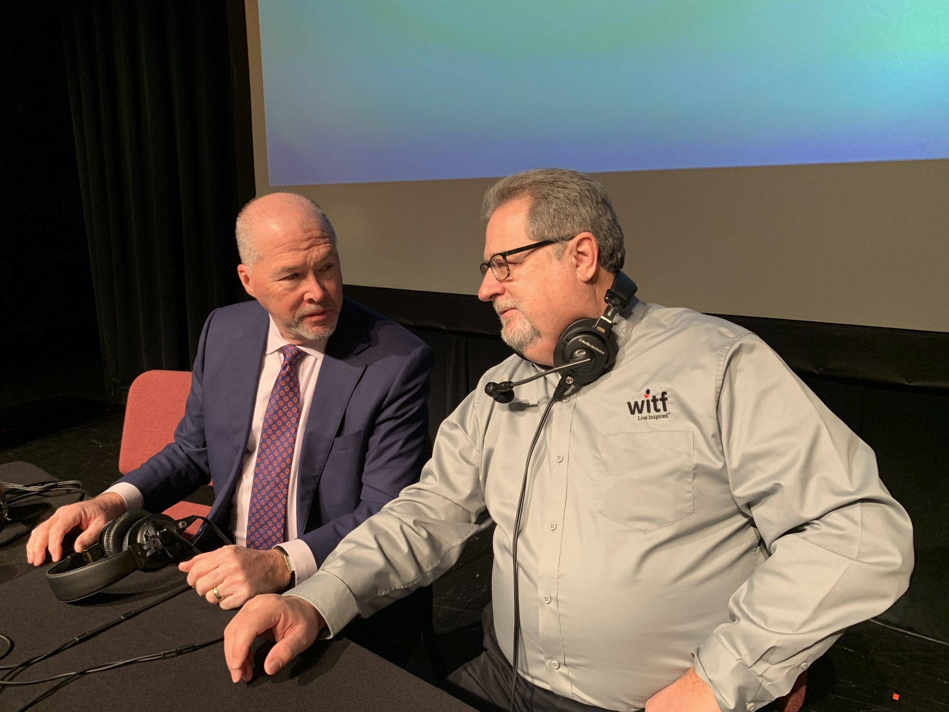 Gene Barr, President and CEO the Pennsylvania Chamber of Business and Industry, chats with Smart Talk host Scott LaMar before their segment about the demand for a technically skilled workforce.