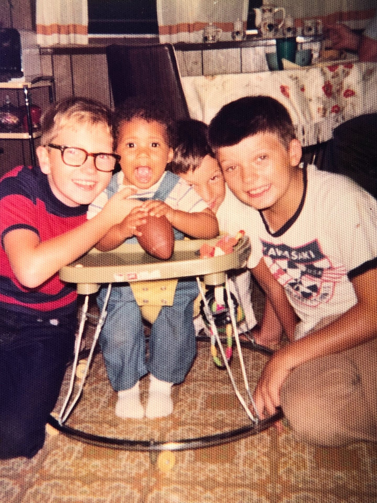 Andy (left) and Stosh as kids with their cousin Patrick Tobin and older brother Leo.