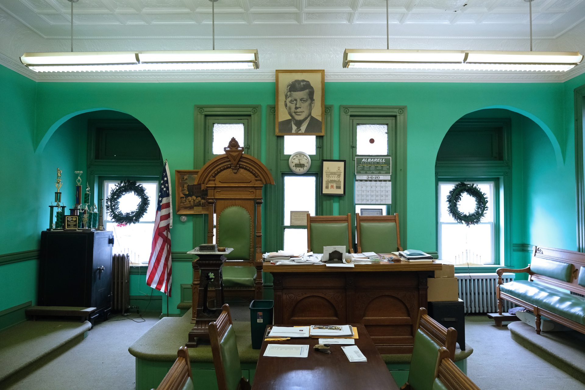 Inside the meeting room of the 19th century Phoenix Fire Company No. 2 on Jan. 16, 2020, in Shenandoah, Pennsylvania.
