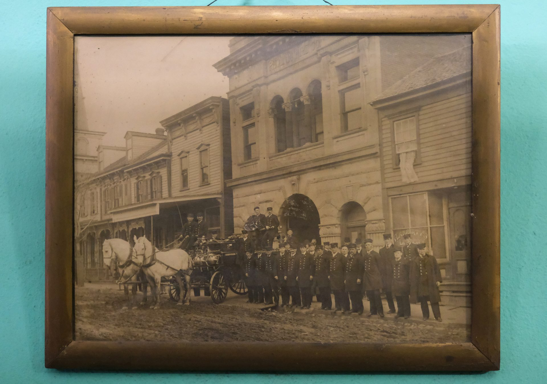 A photo of the company of firefighters taken in the 19th century is displayed Jan. 16, 2020, at Phoenix Fire Company No. 2 in Shenandoah, Pennsylvania.