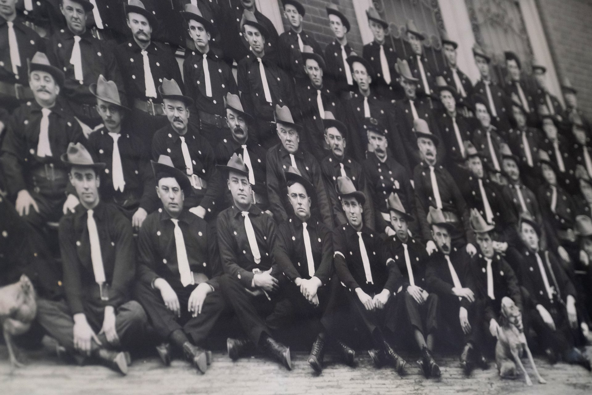 A photograph of the company of firefighters taken in the early 20th century is displayed Jan. 16, 2020, at Good Will Fire Company No. 4 in Pottsville, Pennsylvania.