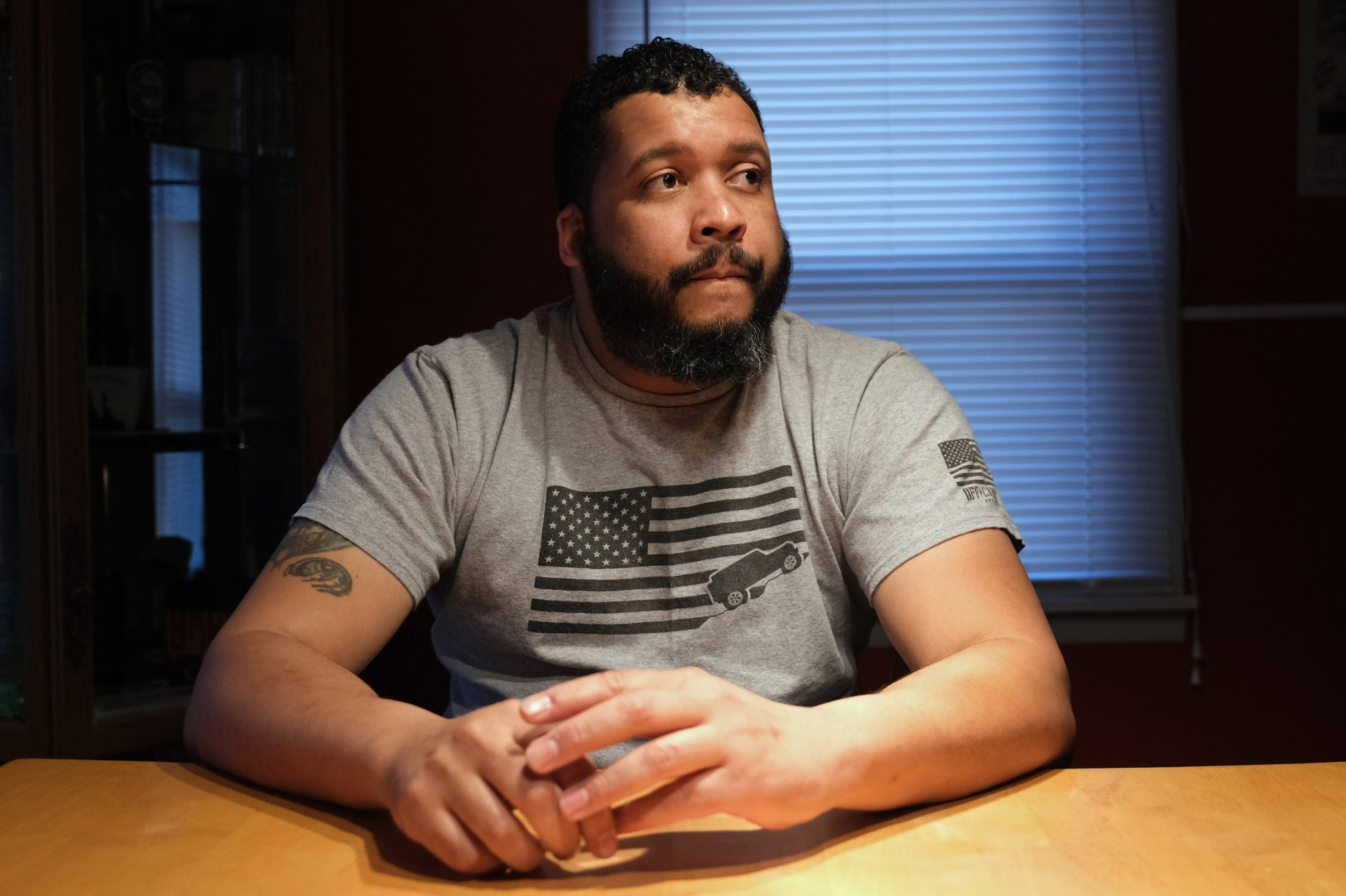 Ronald Stanley Webb, Jr, nicknamed Stosh, talks while in his home Jan. 16, 2020, in Deer Lake, Pennsylvania. Webb was subjected to a racial slur while at Port Clinton Fire Company.