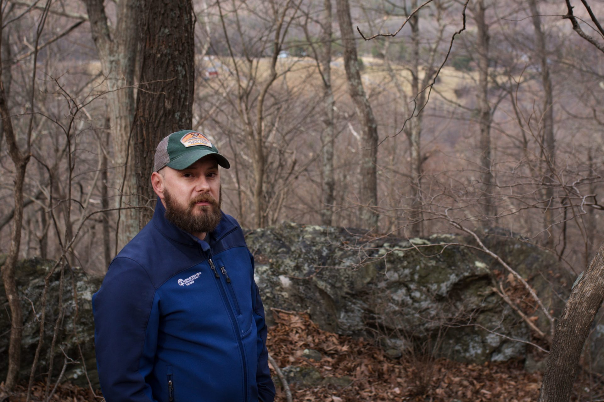 Andrew Downs, senior regional director for the southern region of the Appalachian Trail Conservancy, stands at the approximate spot where the pipeline would cross underground.