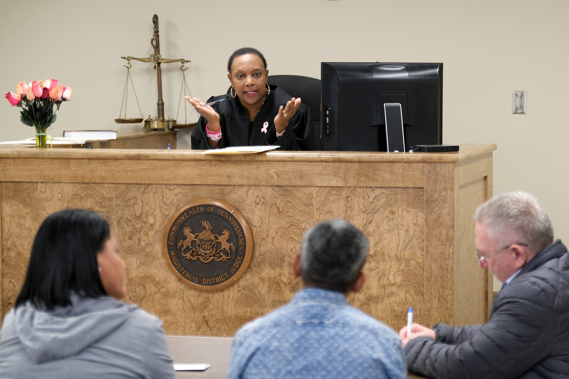 Judge Tonya Butler presides over a landlord-tenant case in Reading.