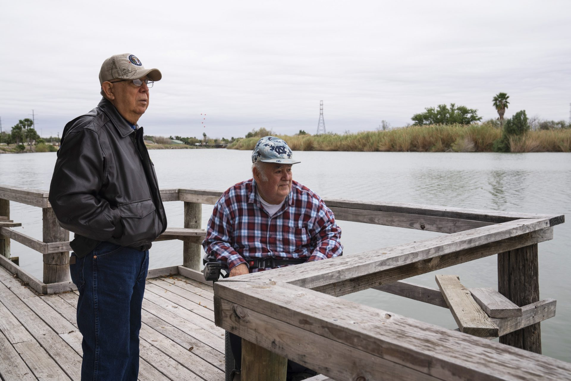 Cousins Rey Anzaldua (left) and Fred Cavazos own a rustic campground in Mission. The government wants to put the wall and a wide patrol zone along the north end of their property. They worry it will drive away his tenants, who may not want to be walled off from the rest of Texas.