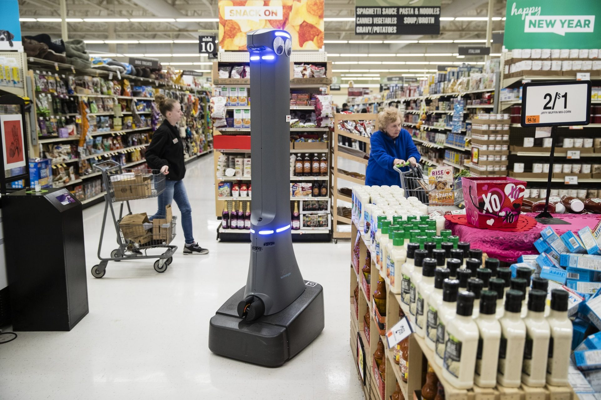A robot named Marty cleans the floors at a Giant grocery story in Harrisburg, Pa., Tuesday, Jan. 15, 2019. On Monday, the Carlisle-based Giant Food Stores announced new robotic assistants will be arriving at all 172 Giant stores by the middle of this year. The chain's parent company says it plans to eventually deploy the robots to nearly 500 stores.