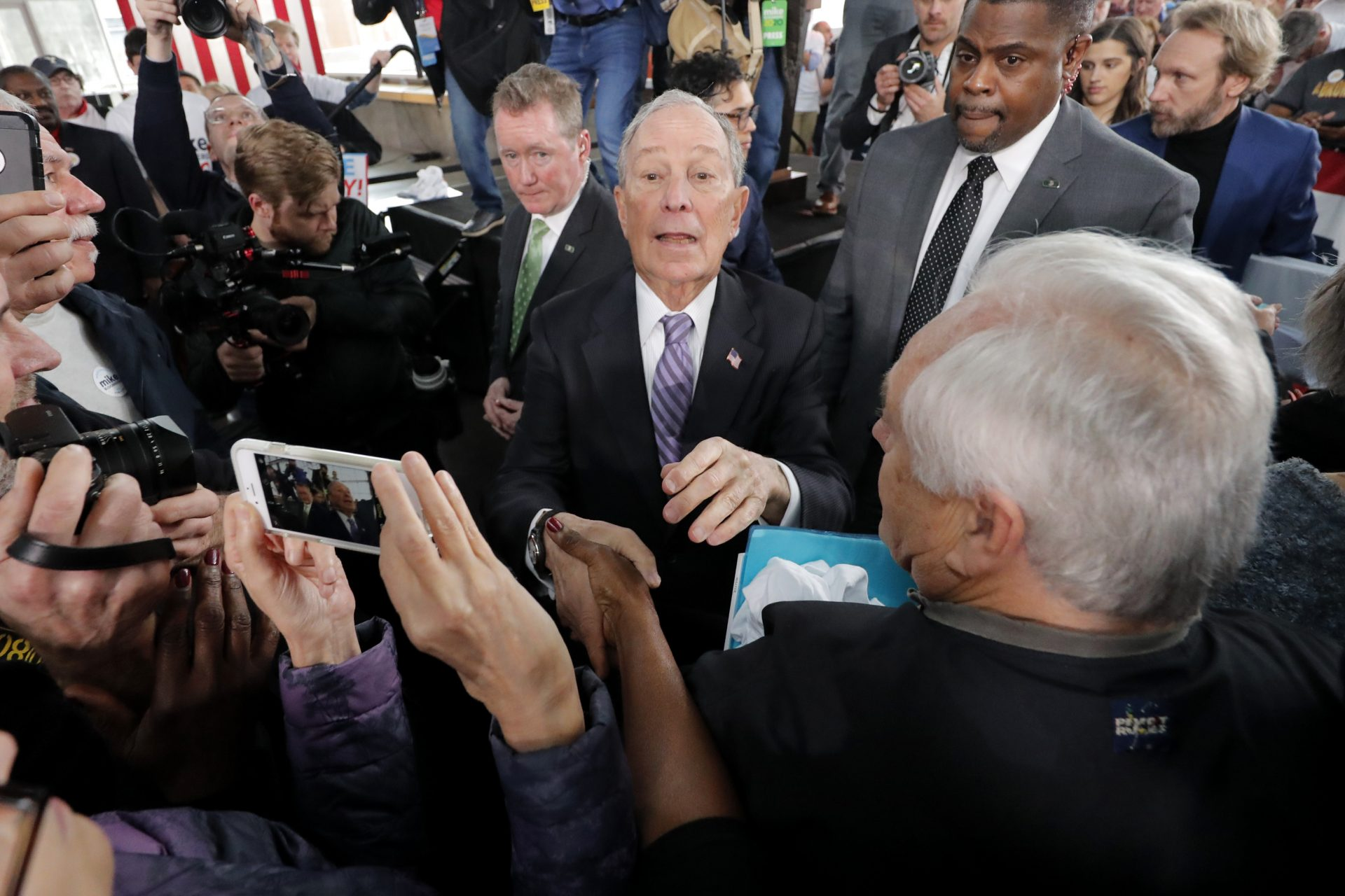 Democratic presidential candidate and former New York City Mayor Mike Bloomberg greets supporters after speaking at a campaign event in Raleigh, N.C., Thursday, Feb. 13, 2020.