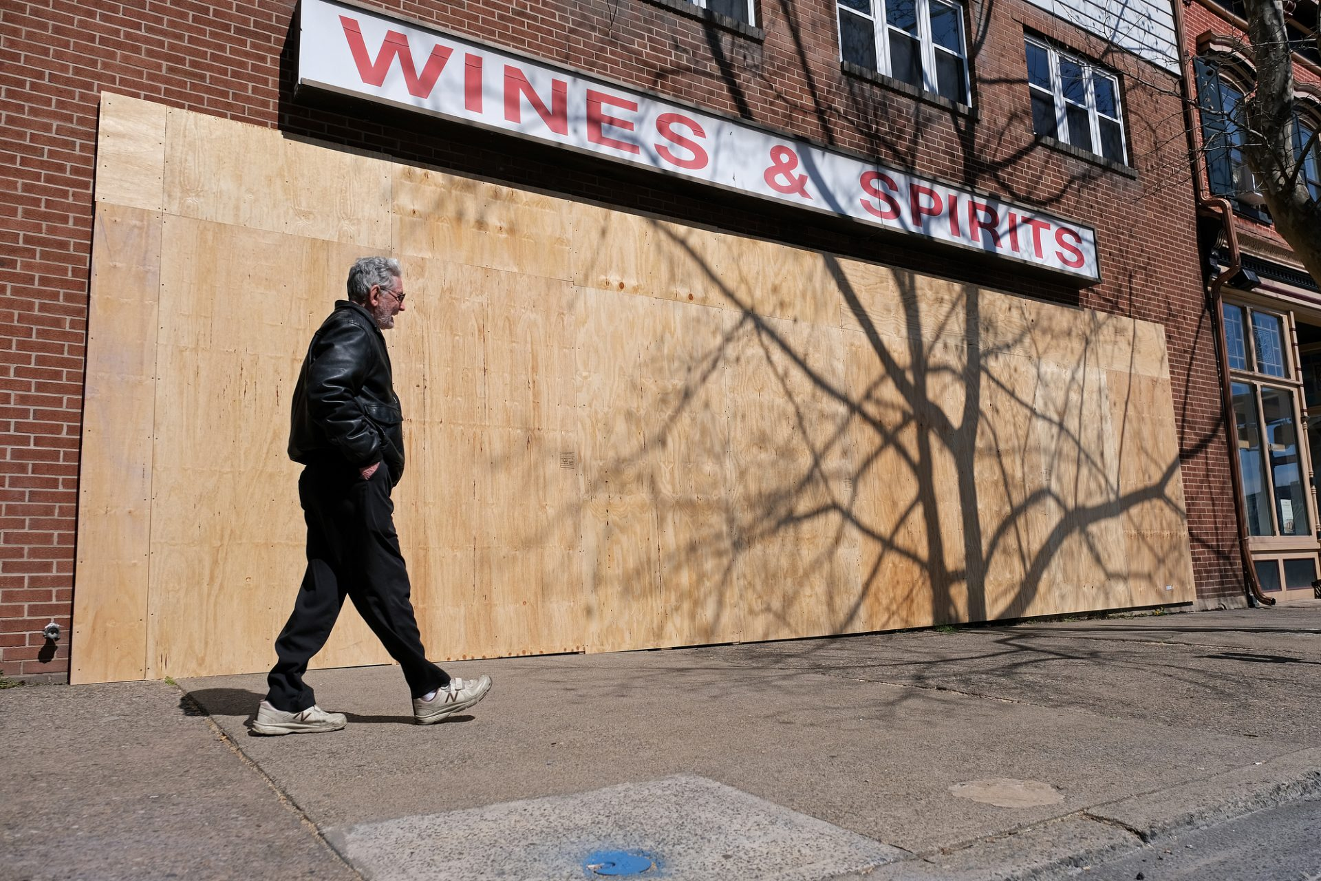 A boarded up Wine and Spirits store in Easton, Pennsylvania.