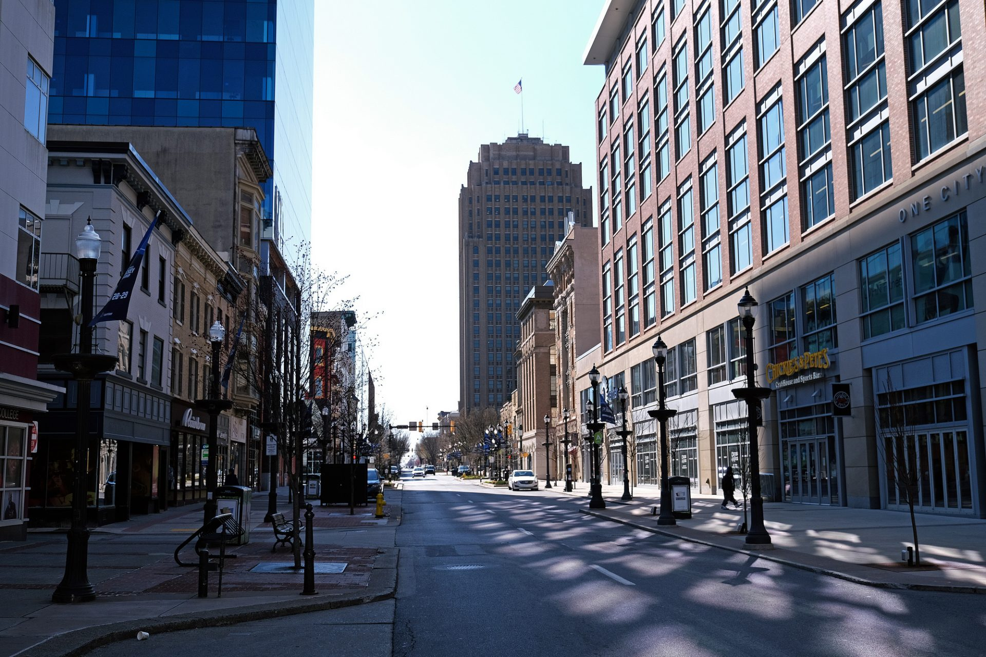 Downtown Allentown, empty on Hamilton Street as communities across the Lehigh Valley adjust to life during the coronavirus pandemic.