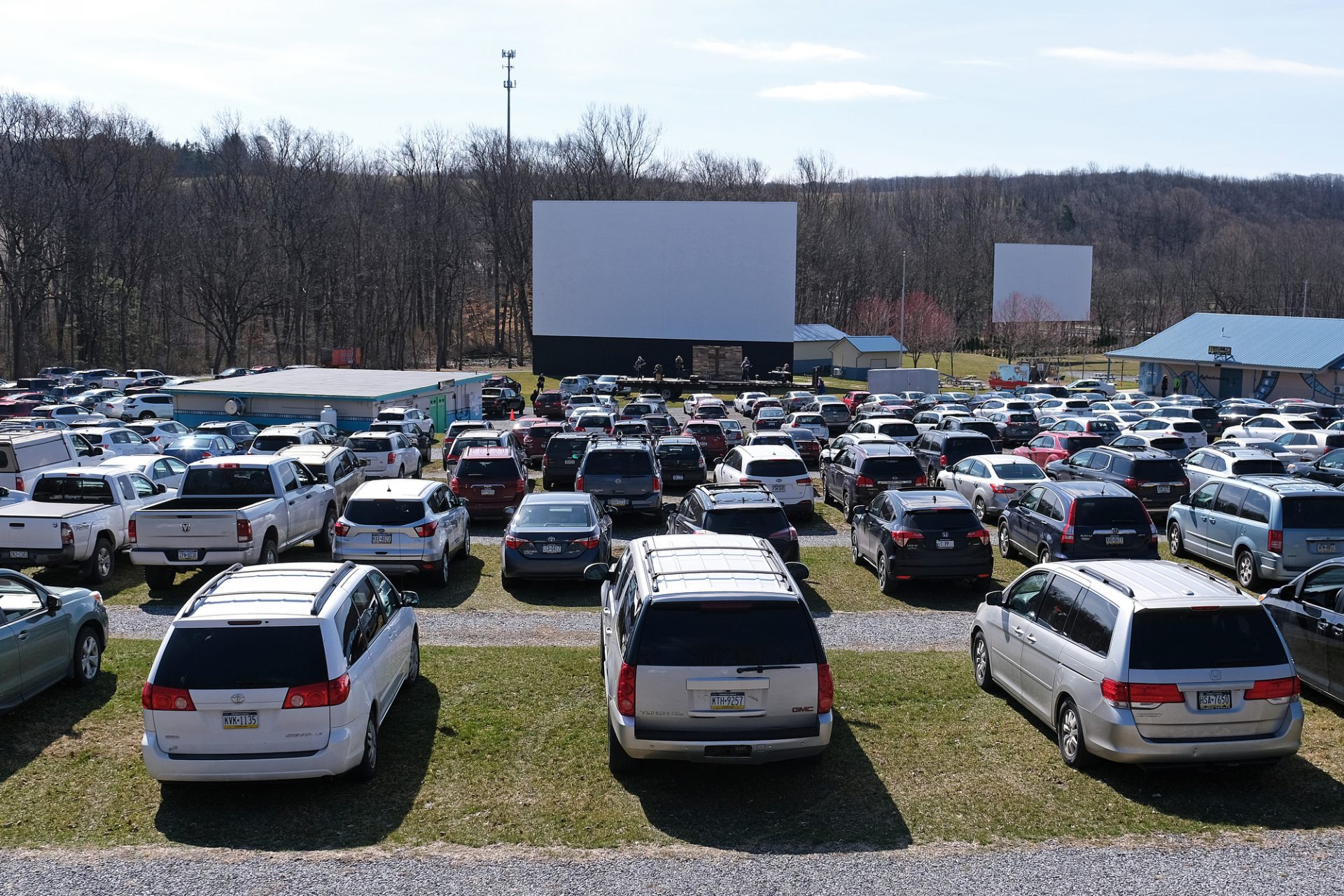 Bethany Wesleyan Church holds Sunday worship service Mar. 22, 2020, at Becky's Drive-In in Walnutport, Pennsylvania. Concerns over the coronavirus have closed churches in an effort to avoid gatherings of large crowds.