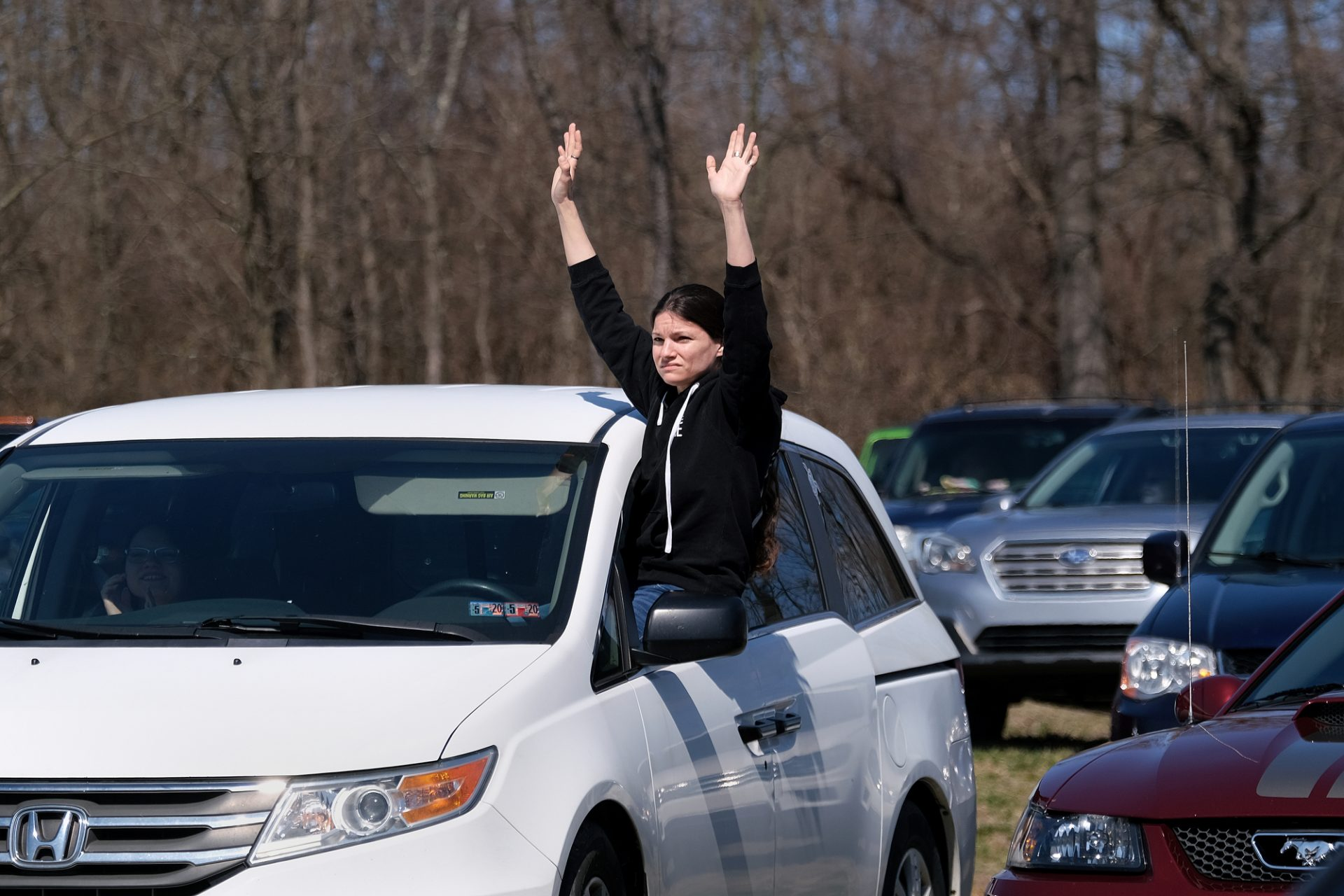 A parishioner during Bethany Wesleyan Church's Sunday worship service at Becky's Drive-In in Walnutport, Pennsylvania.