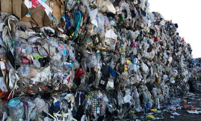A wall of plastic trash at Garten Services in Salem, Ore., is headed to the landfill. The vast majority of plastic can't be or won't be recycled.