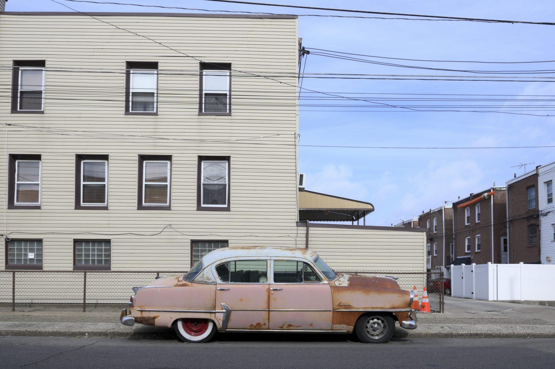 A vintage and rust stained Plymouth is parked near the intersection of Bath St. and Gillingham St. in the Bridesburg neighborhood of Philadelphia, PA, on February 28, 2020.