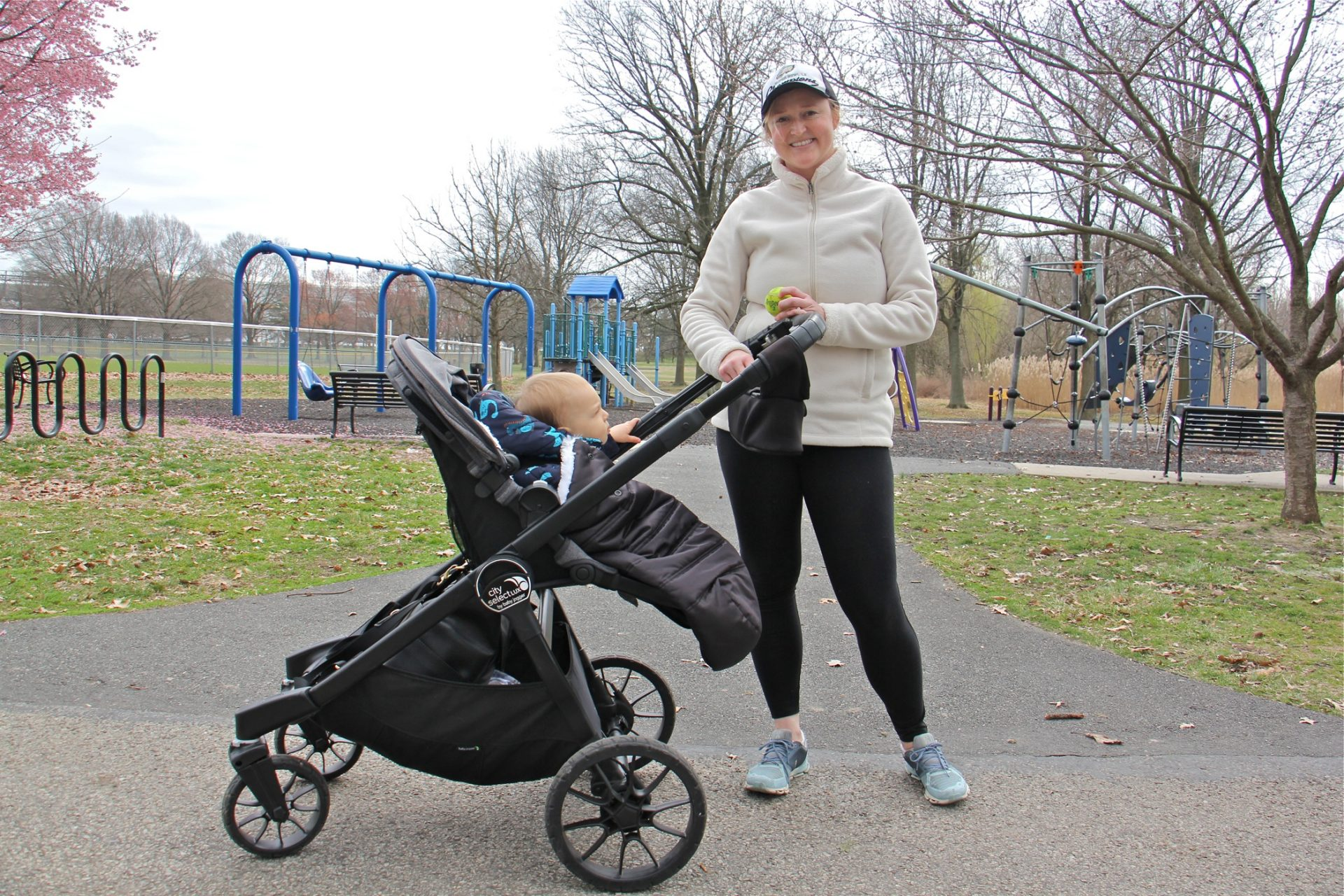 Veronika Ferris visits FDR Park in South Philadelphia with her 1-year-old son.