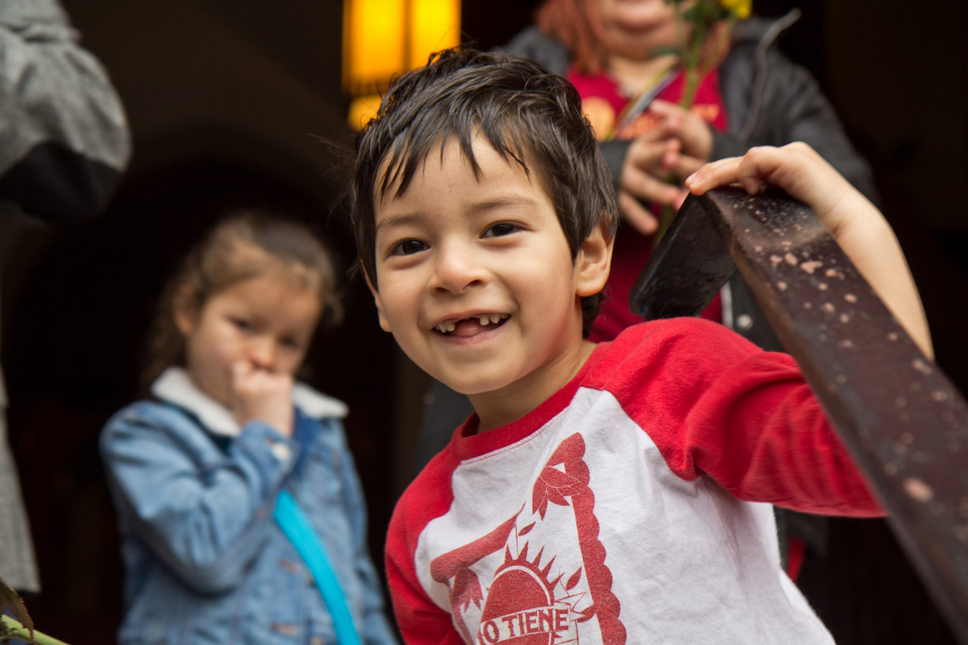 Jeison, son of Suyapa Reyes, smiles for the cameras as his mother was free to leave sanctuary for the first time in since September 2018.