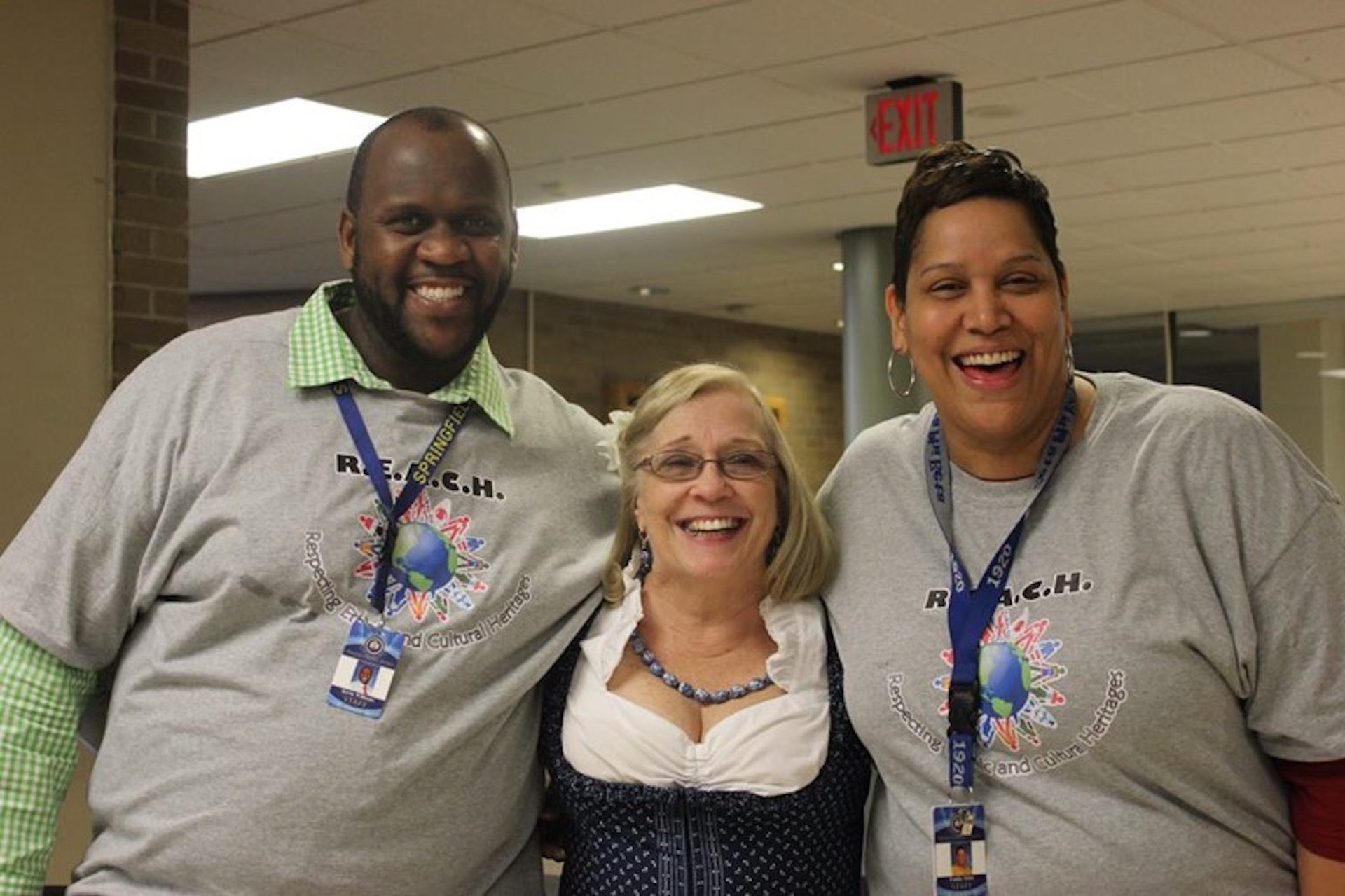 Springfield High School teacher, Fonda Akins (far right) with colleagues at 2015 school diversity night, which may be cancelled this year due to the spread of COVID-19.