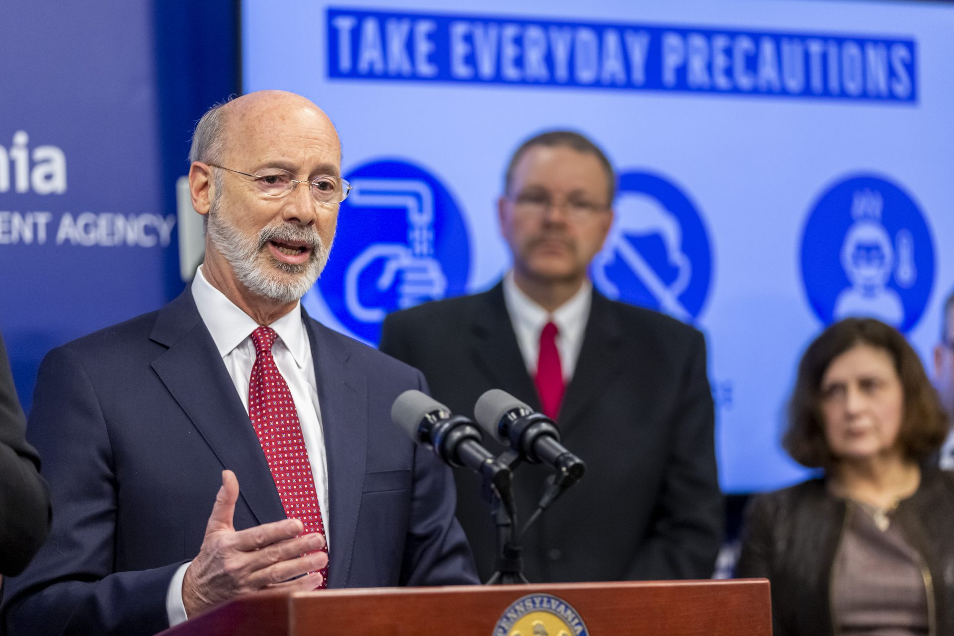 Pa. Gov. Tom Wolf provides an update on the coronavirus known as COVID-19 on March 12, 2020.