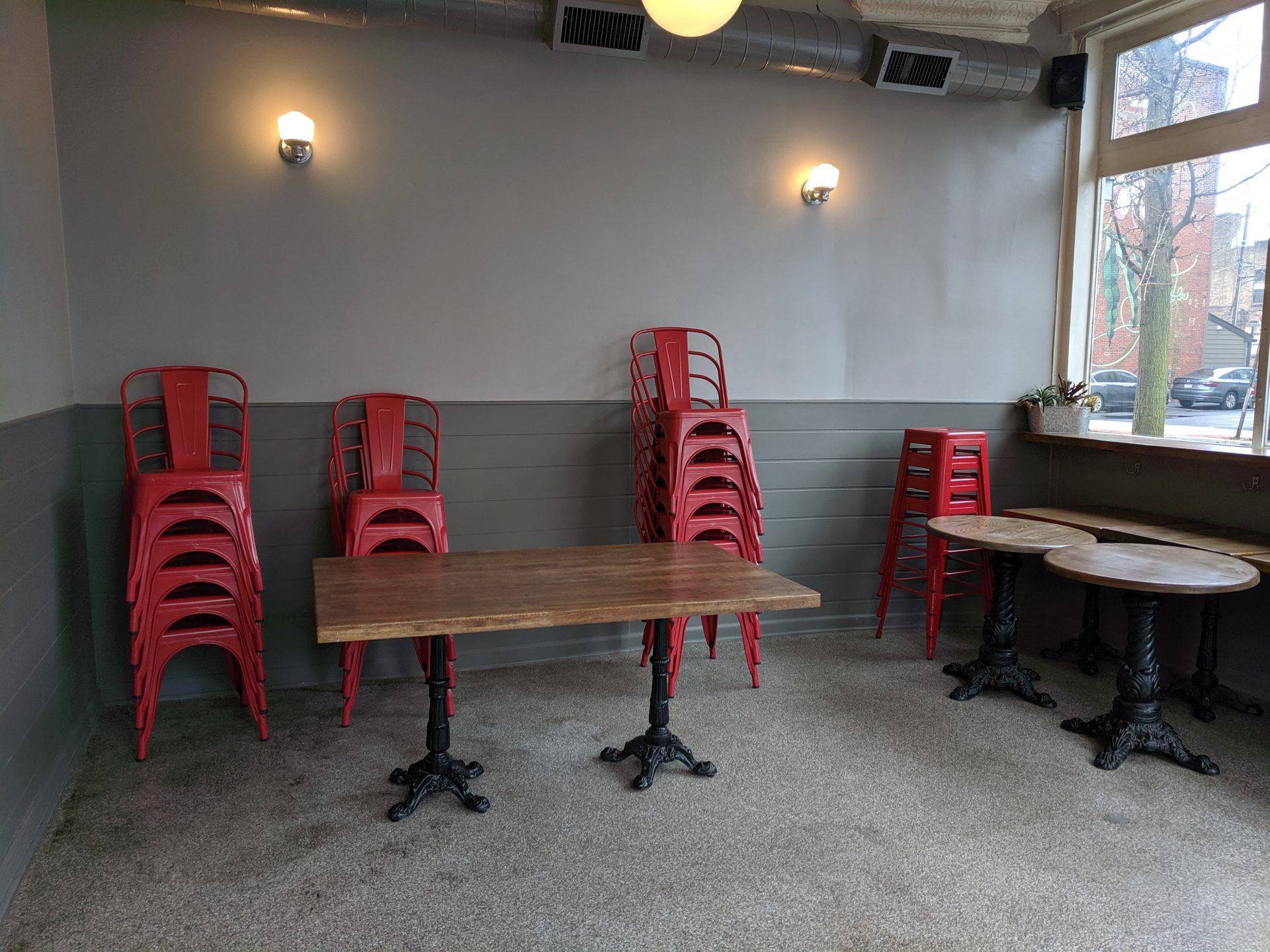 Tables and chairs in Knead Slice Shop are pushed up against the walls on Thursday, March 19, 2020. Governor Tom Wolf has limited restaurants statewide to take-out service only to help slow the spread of COVID-19.