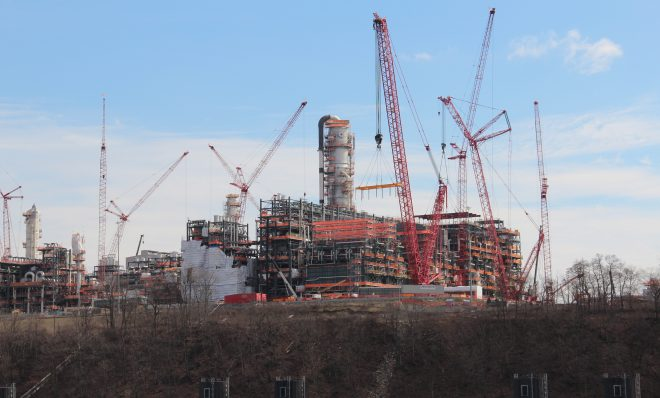 Shell's multi-billion dollar ethane cracker under construction in February, 2020. Photo: Reid R. Frazier