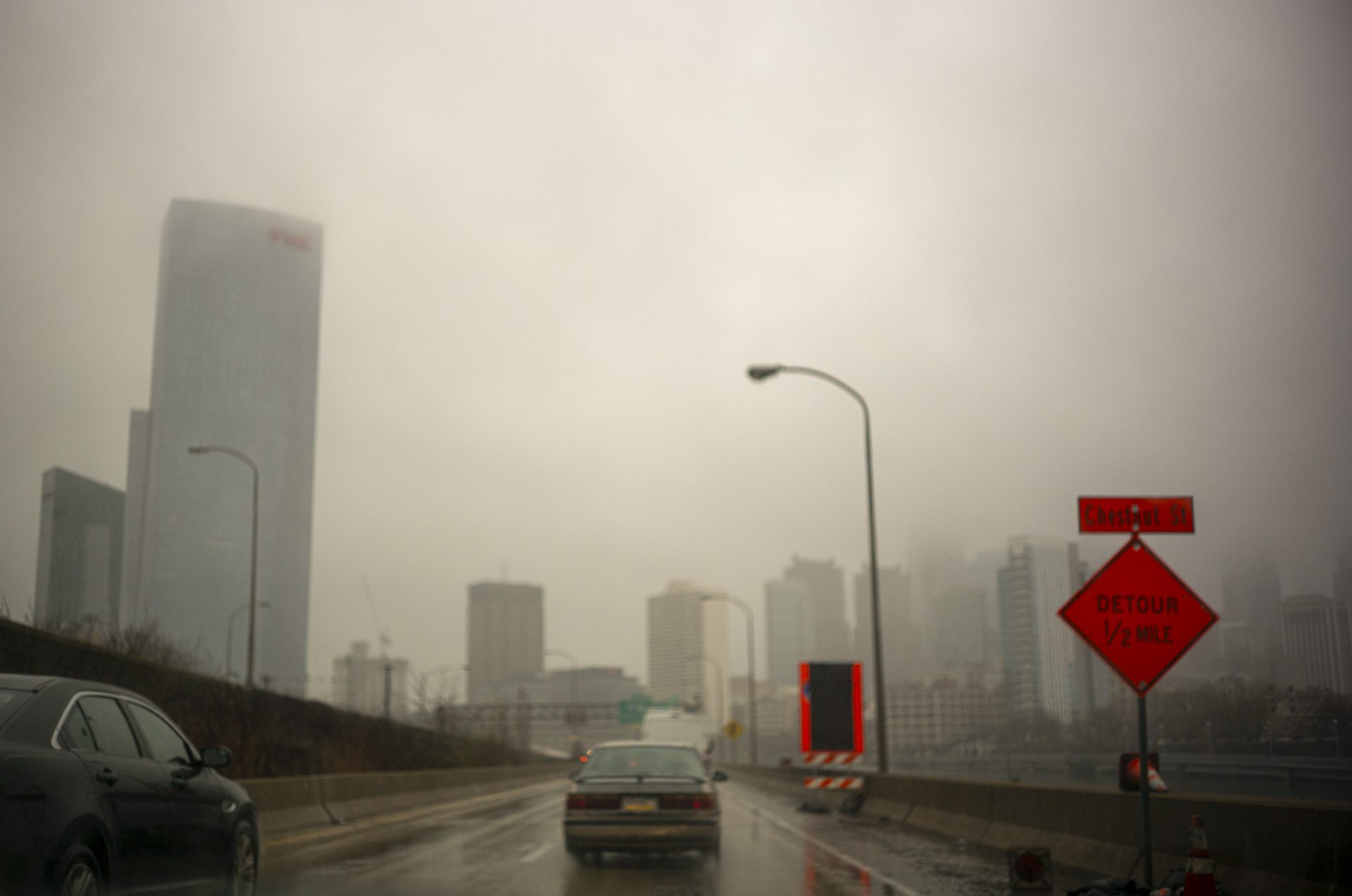 A foggy, gray Philadelphia during the coronavirus pandemic.