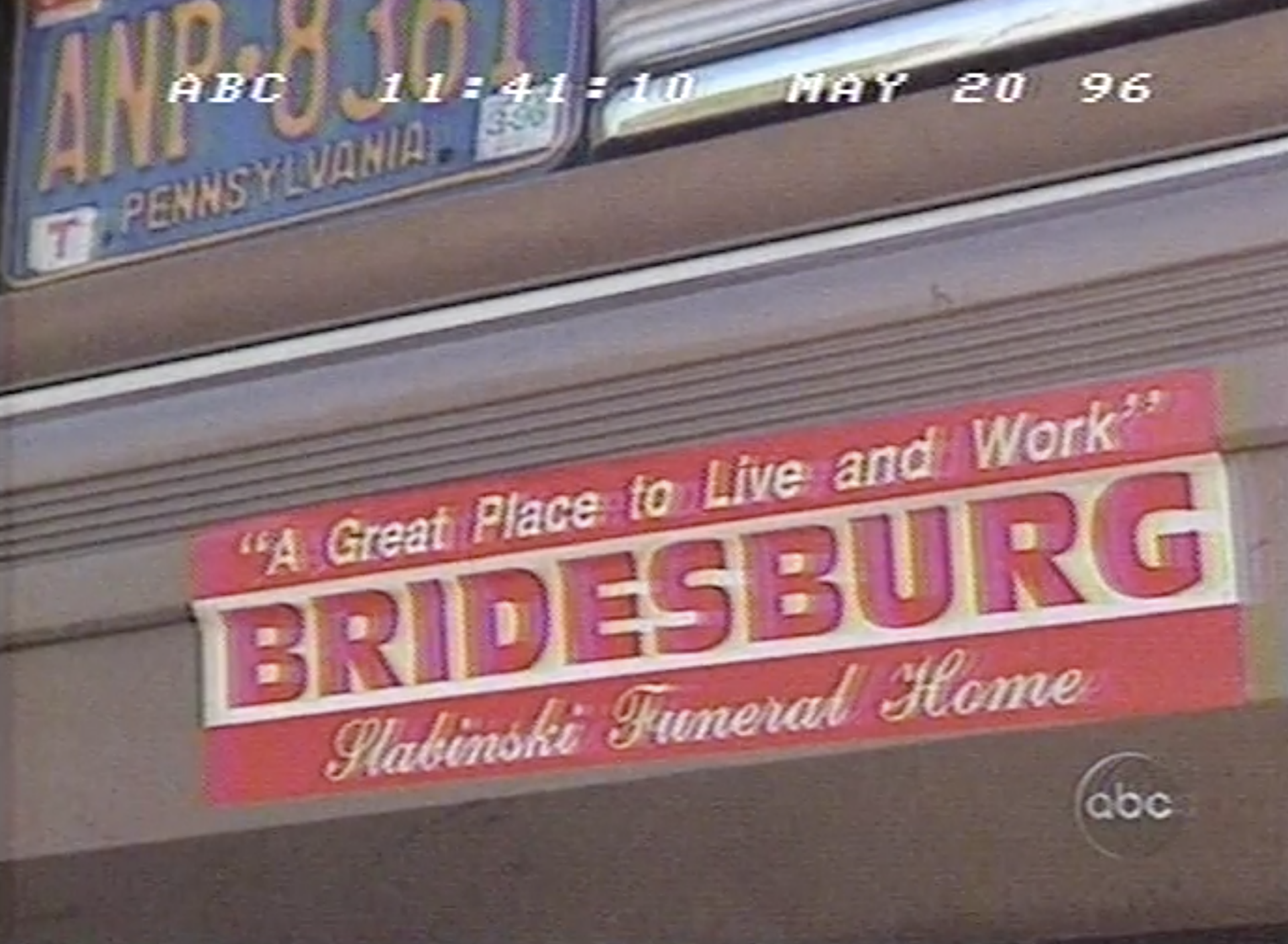 A bumper-sticker for the Slabinski Funeral Home appeared in Nightline's 1996 coverage of Bridesburg.